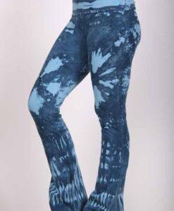 Organic Cotton Tie Dye Foldover Waist Yoga Pant - Aqua Indigo by Blue Lotus Yogawear