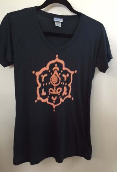 Inner Guru Motif V-Neck Yoga Tee- Indigo by Blue Lotus Yogawear