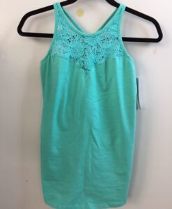Organic Cotton Lace Yoke Cami Built in Bra - Aqua by Blue Lotus Yogawear