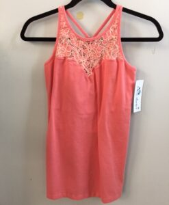 Organic Cotton Lace Yoke Cami with Built in Bra - Coral by Blue Lotus Yogawear
