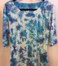 100% Cotton Crystal Tie Dye- 3/4 Slv Yoga Tee- Turq Lilac by Blue Lotus Yogawear