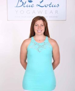 Organic Cotton Lace Yoke Cami with Built in Bra - Aqua by Blue Lotus Yogawear