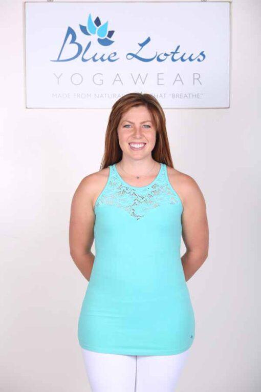 Organic Cotton Lace Yoke Cami with Built in Bra - Aqua by Blue Lotus Yogawear