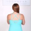 Organic Cotton Lace Yoke Cami with Built in BraBack - Aqua by Blue Lotus Yogawear
