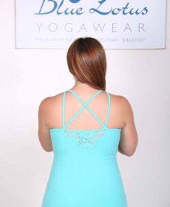 Organic Cotton Lace Yoke Cami with Built in BraBack - Aqua by Blue Lotus Yogawear
