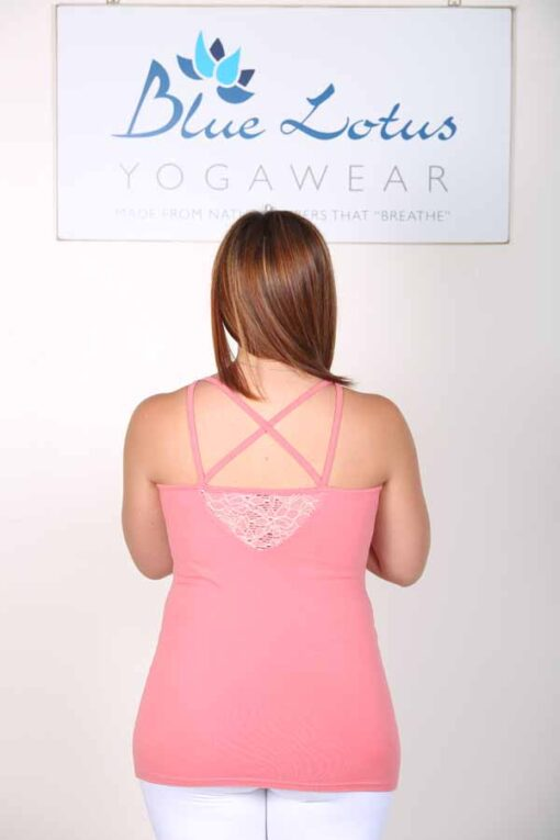 Organic Cotton Lace Yoke Cami with Built in Bra - Coral backby Blue Lotus Yogawear