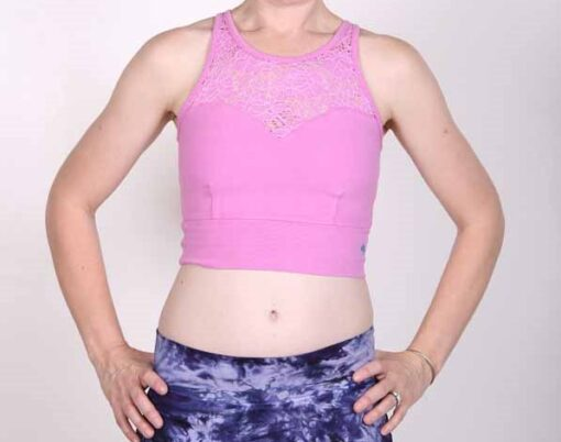 Lace Yoke Organic Cotton Tankini- Pink- by Blue Lotus Yogawear