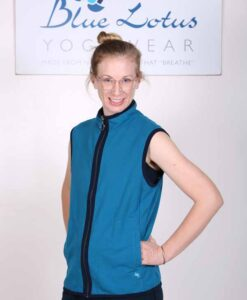 Organic Cotton Heart Zip Vest- Teal by Blue LOtus Yogawear