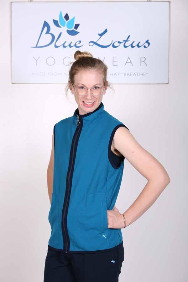 Organic Cotton Heart Zip Vest- Teal by Blue Lotus Yogawear