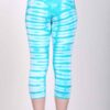 Organic Cotton Crop Yoga Legging - Aqua Bengal Tiger Tie Dye- back by Blue Lotus Yogawear