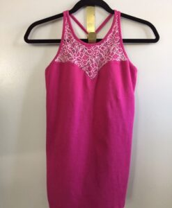Organic Cotton Lace Yoke Cami Built in Bra - Magenta by Blue Lotus Yogawear