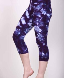 Organic Cotton Crop Yoga Legging - Deep Purple Crystal Dye by Blue Lotus Yogawear