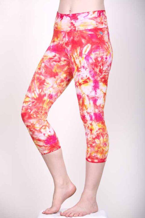 Organic Cotton Crop Yoga Legging- Red Pink Crystal Dye by Blue Lotus Yogawear