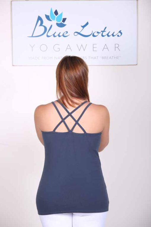 Organic Cotton Double Cross Back Cami with Built-in Bra-Indigo Back by Blue Lotus Yogawear