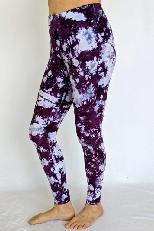 Organic Cotton Ankle Length Yoga Legging- Purple Tie Dye by Blue Lotus Yogawear