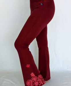 Organic Cotton Mehndi Design Flare Leg Yoga Pant - Wine by Blue Lotus Yogawear
