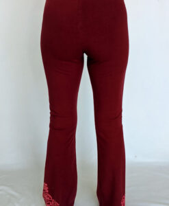 Organic Cotton Mehndi Design Flare Leg Yoga Pant - Wine Back by Blue Lotus Yogawear