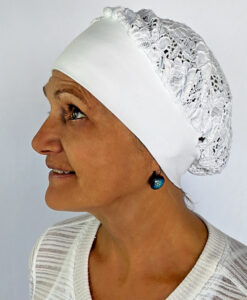 Organic Cotton and Lace Head Covering - Kundalini White by Blue Lotus Yogawear