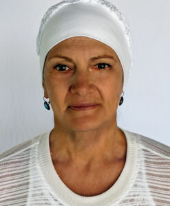 Organic Cotton and Lace Head Covering - Kundalini White -2 by Blue Lotus Yogawear