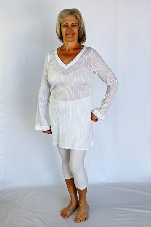 Gauze Long Sleeve Tunic Dress - Kundalini White by Blue Lotus Yogawear