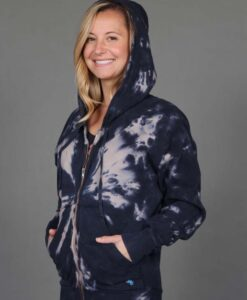 Tie Dye Zip Front Fleece Hoodie - Clay/Black by Blue Lotus Yogawear